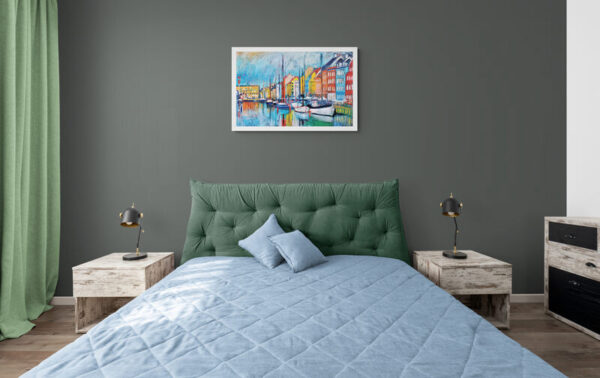 The Harbor (Nyhavn) Oil Painting By Marios Orozco in bedroom