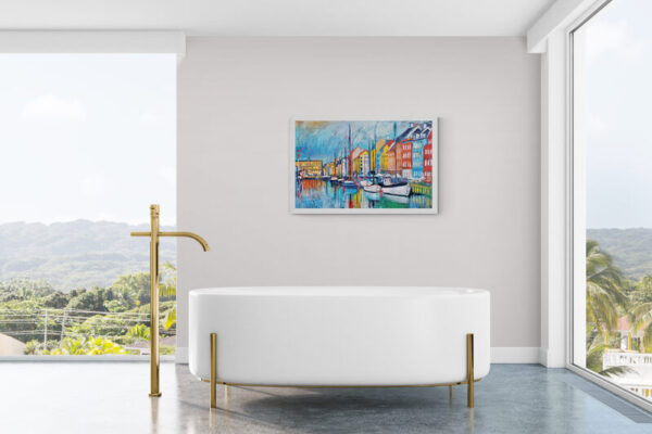 The Harbor (Nyhavn) Oil Painting By Marios Orozco in bathroom