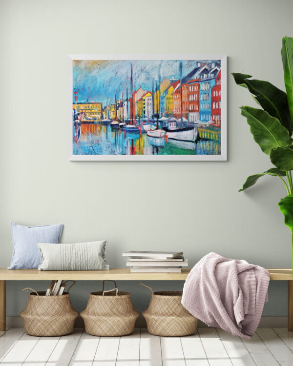 The Harbor (Nyhavn) Oil Painting By Marios Orozco in hallway