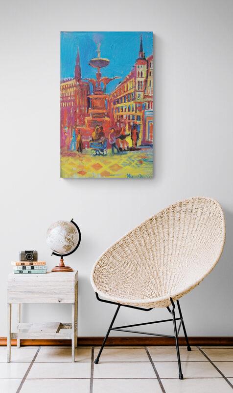 Storkespringvandet, Oil on canvas, Marios Orozco