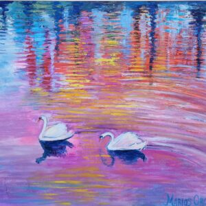 TWO SWANS IN PINK oil painting by marios orozco