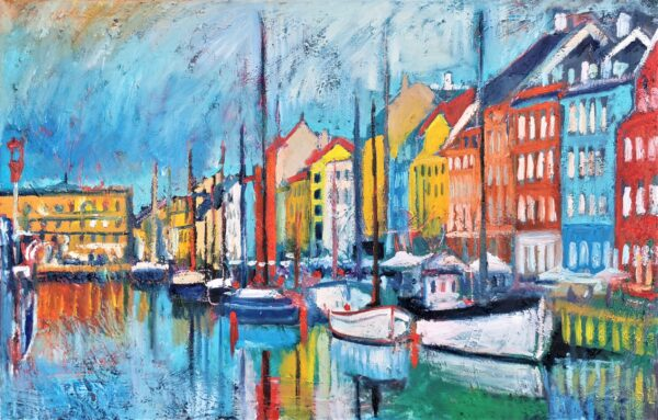 The Harbor (Nyhavn) Oil Painting By Marios Orozco