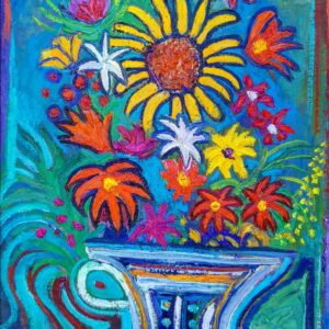 Sunflower Freedom, oil painting, by Marios Orozco