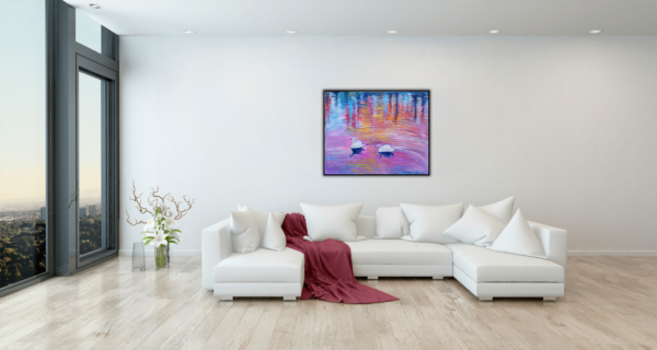 Oil painting by Marios orozco, Two swans in pink