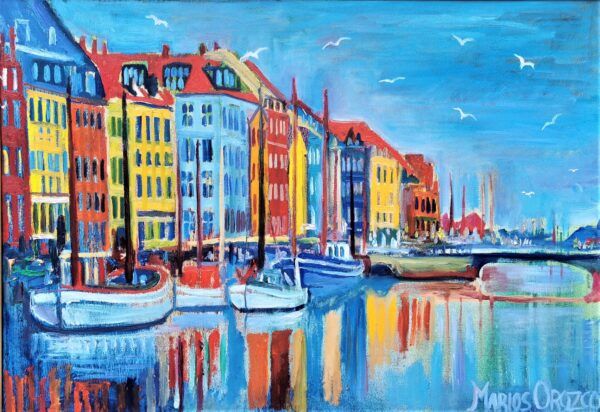 Blue Spring In Nyhavn With Seagulls by Marios Orozco