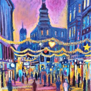 Oil Painting Christmas On The Walking Street