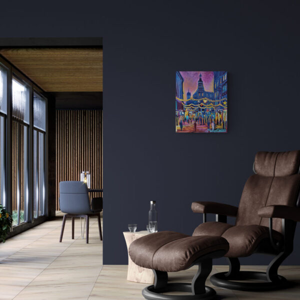 Oil Painting Christmas On The Walking Street in dark setting with armchair