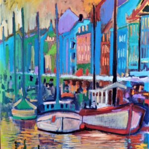 Oil Painting by Marios Orozco, Nyhavn Green And White Boats