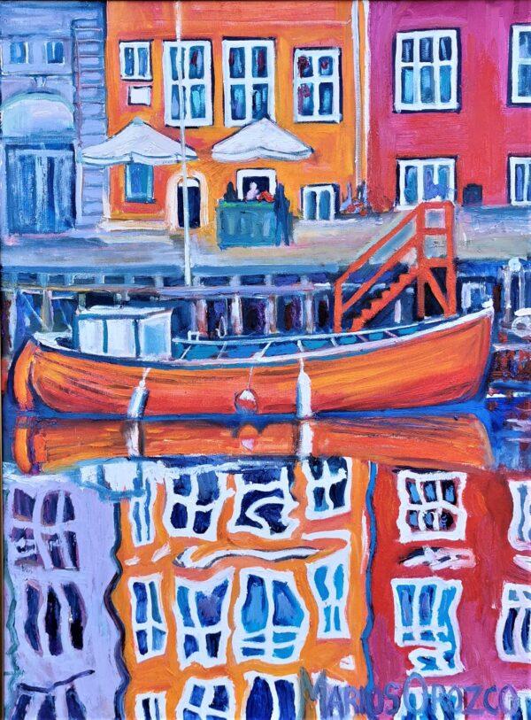 Orange Ripples In Copenhagen, Oil painting by Marios Orozco