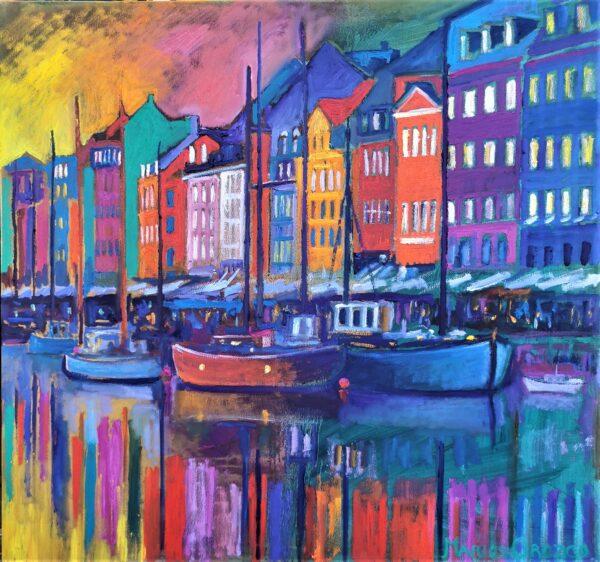 Happy Afternoon In Nyhavn, Oil on canvas, Marios Orozco