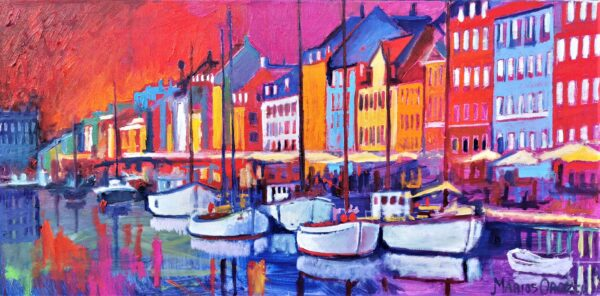 Hot Summer Sunset In Nyhavn, oil on canvas, Marios Orozco