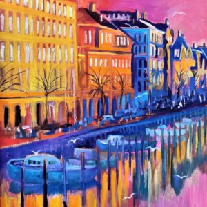 Late Afternoon In Christianshavn, Oil on canvas, Marios Orozco