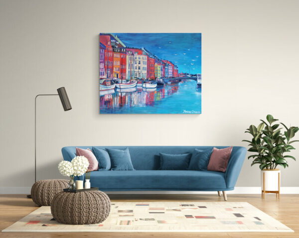 Blue Nyhavn With Seagulls 149X120, Oil on canvas, By Marios Orozco