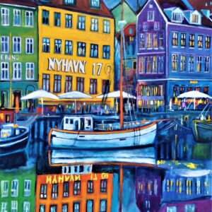 Nyhavn 17 In The Evening 100,5X106,5 CM, Oil on canvas, By Marios Orozco