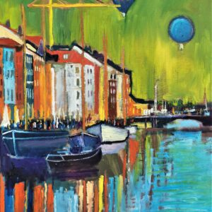 Nyhavn With Balloons 63X81, Oil on canvas, Marios Orozco