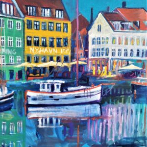 Small Nyhavn 17 With Boat 60X67,5, Oil on canvas, Marios Orozco