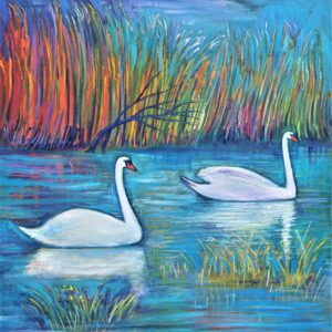 Two Swans in The Reeds 120X150 CM Oil on canvas By Marios Orozco